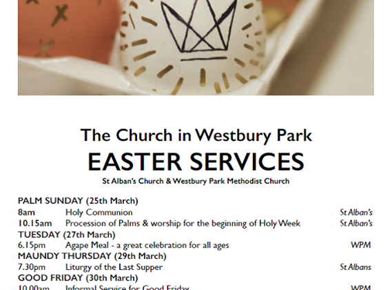 Hope to see you at our Easter services – 6am and 10.15am. Details below.