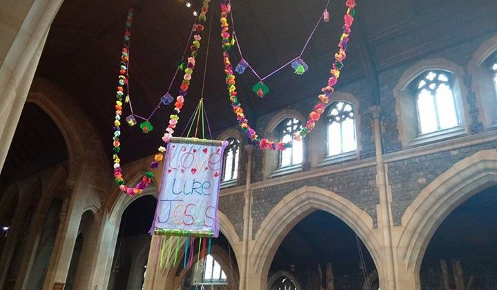 The new decorations in the aisle for Easter. Thanks to those who made them.