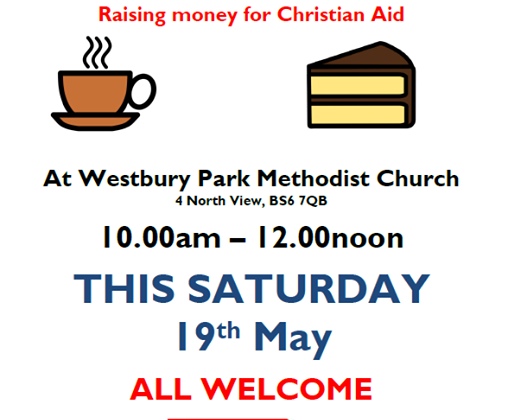 This Saturday (19th May) we have our Monthly Cafe at the Methodist Church. As it is Christian Aid week it will be raising funds for Christian Aid. It will also include a Plant Sale and be followed by a lunch also for Christian Aid.