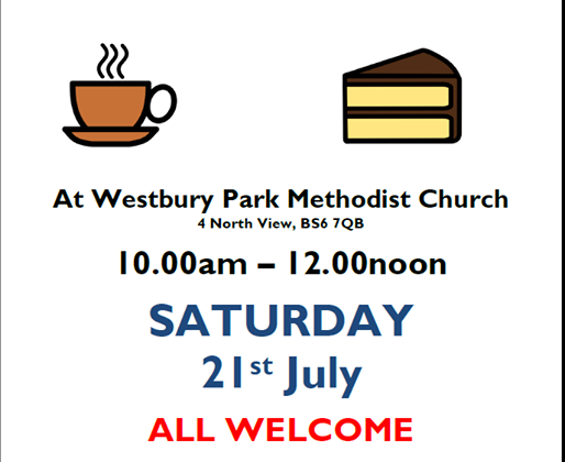 This Saturday, 21st July, we have our Monthly Cafe at the Methodist Church from 10am to 12noon. Do come along for homemade cake and hot and cold drinks. Small area for children so all ages welcome. This month we are raising money for Church Funds.